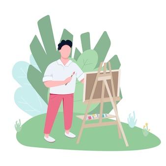 Plenerowy artysta pracujący w parku płaski kolor wektor beztwarzowy charakter.