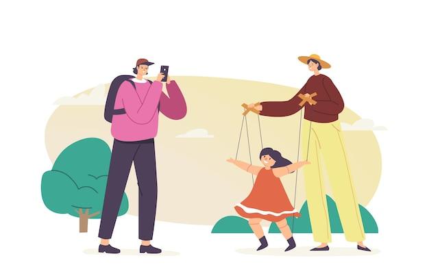 Plenerowy koncert kukiełkowy, mistrz manipulacji zabawką tańczącą na strunach. uliczny artysta lalkarz postaci wykonuje pokaz z marionetką wiszącą na linach dla turysty. ilustracja wektorowa kreskówka ludzie
