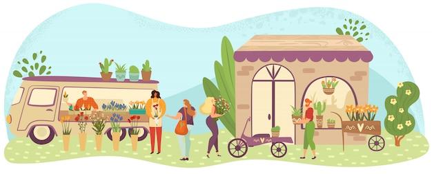 Plenerowy kwiat i rośliny wprowadzać na rynek z ludźmi lub klientami chodzi wśród kramów, kwiaciarnia sklepów kreskówki ilustracja.