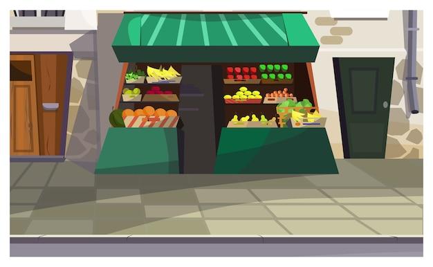 Plenerowy owocowy kontuar na ulicznej ilustraci