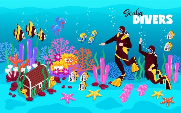 Płetwonurkowie głęboko podwodne ilustracja izometryczna