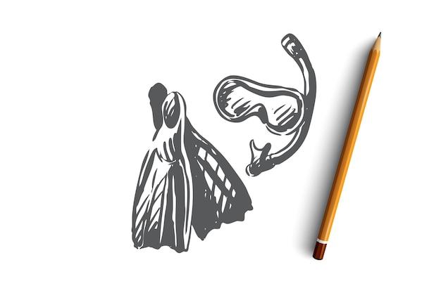 Płetwy, nurkowanie z rurką, maska, podwodne, koncepcja nurkowania. ręcznie rysowane sprzęt do nurkowania szkic koncepcji. ilustracja.