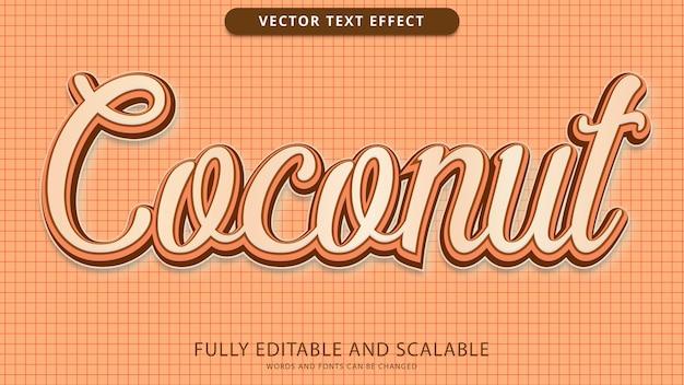Plik eps edytowalny z efektem tekstowym kokosa