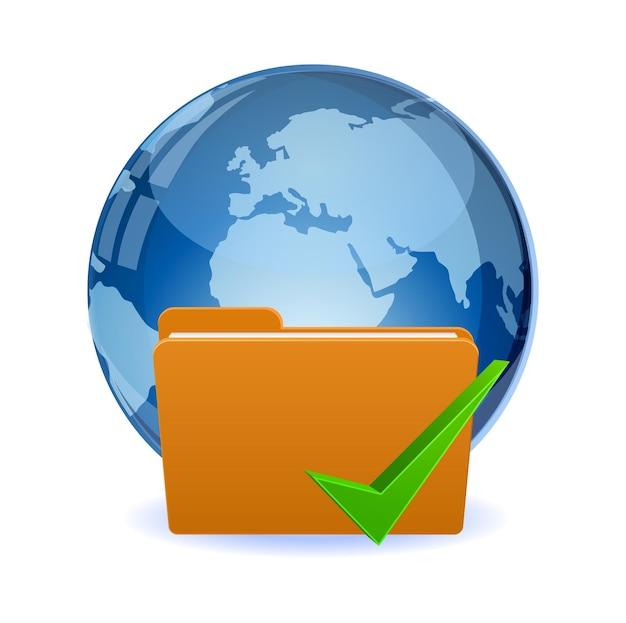 Plik folderu z ikoną świata i znacznika wyboru