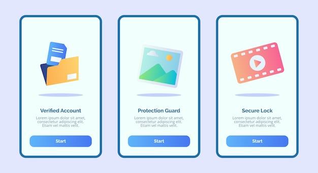 Plik i folder ze zdjęciami folder wideo dla interfejsu użytkownika strony baneru aplikacji mobilnych