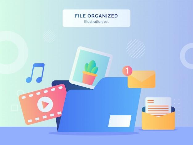 Plik uporządkowany zestaw ilustracji zawiera folder plików zawierający wiadomość e-mail z wiadomością wideo z muzyką z płaskim stylem