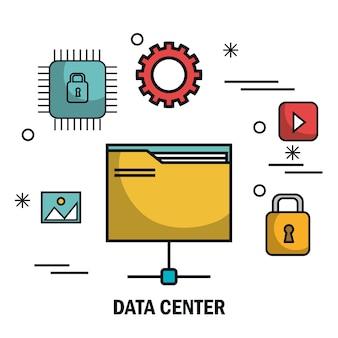 Pliki bezpieczeństwa serwer centrum danych na białym tle
