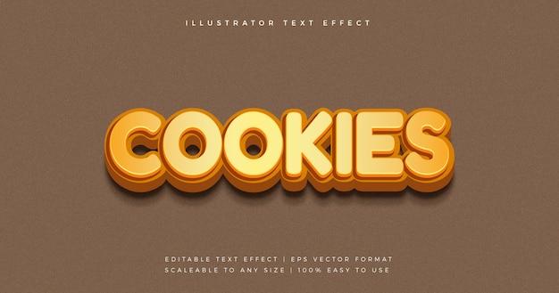 Pliki cookie przekąska zabawny efekt czcionki w stylu tekstu