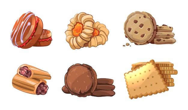 Pliki cookie wektorowe ikony w stylu cartoon. element piekarniczy, odżywianie przekąsek, smaczny deser, bułka pyszna, ciasto jeść