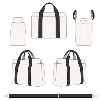 Płócienna torba z grubej tkaniny modne płaskie wzory