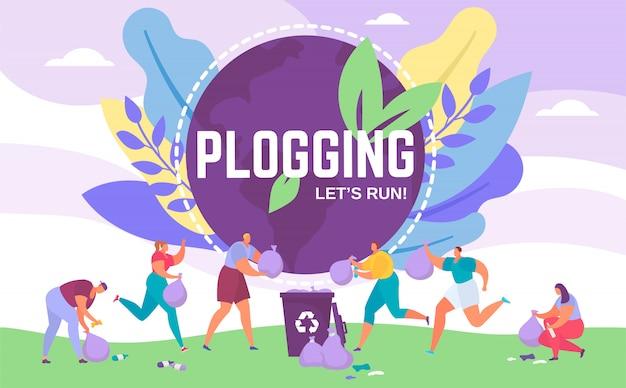 Plogging banner pozwala biegać, aby oczyścić świat, ilustracja ludzi zbierających śmieci podczas plogowania eco maratonu.