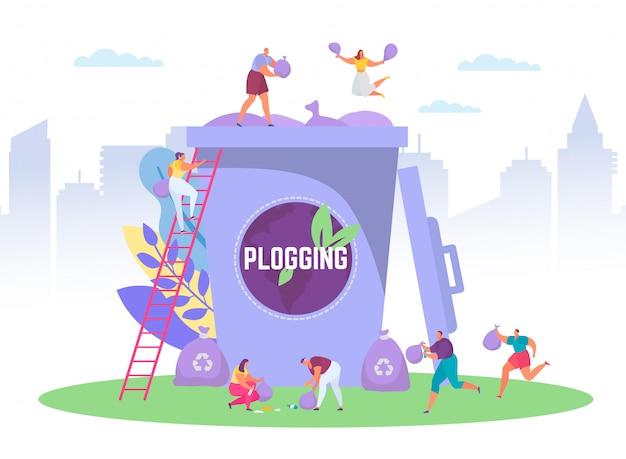 Plogging ekologicznej koncepcji prowadzącej do oczyszczenia świata, ilustracja malutkich ludzi zbierających śmieci do ogromnego pojemnika na śmieci, plogging ekologicznego maratonu.