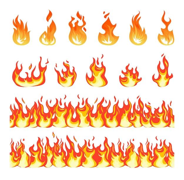 Płomień ognia. płonący ogień bez szwu granicy, ognisko w stylu kreskówki.