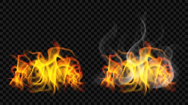 Płomień ognia z dymem i bez niego