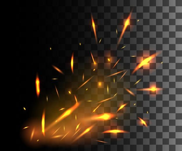 Płomień ognia z iskrami lecącymi w górę świecącymi cząsteczkami na ciemnym przezroczystym tle