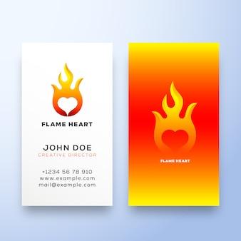 Płomień serce streszczenie znak, symbol lub logo szablon i wizytówki. koncepcja stacjonarna godło negatywnej przestrzeni.