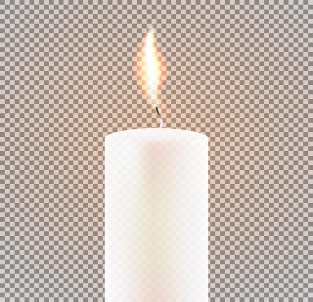 Płomień świecy na przezroczystym tle. ilustracji wektorowych.