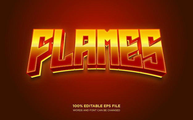 Płomienie 3d edytowalny efekt stylu tekstu