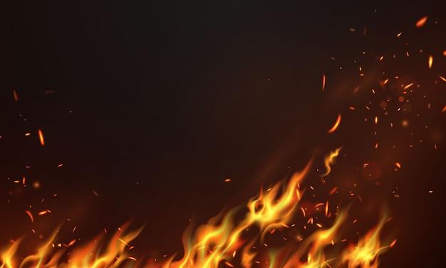 Płomienie ognia płonące czerwone gorące iskry realistyczne abstrakcyjne tło