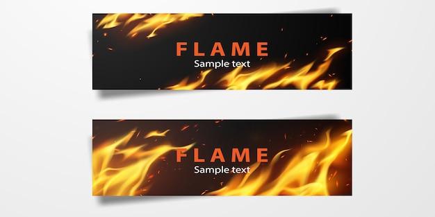 Płomienie ognia płonące czerwone gorące iskry realistyczne streszczenie transparent