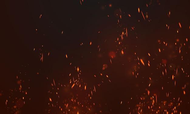 Płomienie ognia płonące czerwone gorące iskry realistyczne streszczenie