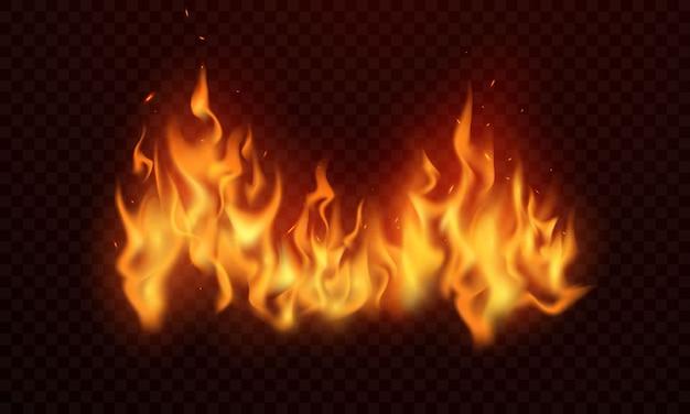 Płomienie ognia płonące czerwone iskry realistyczne