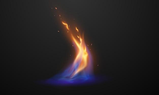 Płomienie ognia realistyczne czerwone, gorące iskry spark