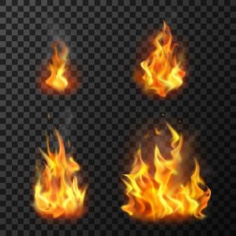 Płomienie ognia ustawić realistyczne ilustracje wektorowe