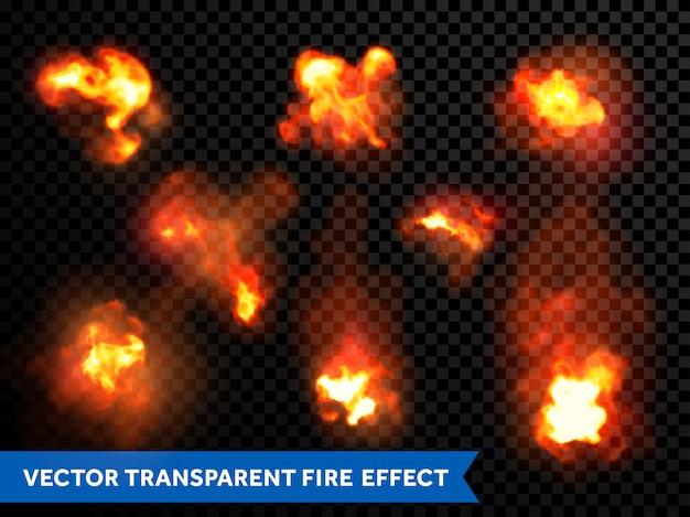 Płomienie ognia wybuchają wybuchy przezroczyste