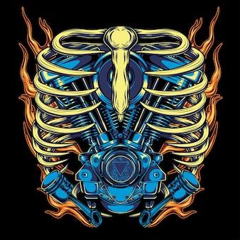 Płonąca czaszka twin engine, do koszulki
