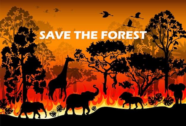 Płonąca Katastrofa Leśna Pożar Czarna Sylwetka Premium Wektorów