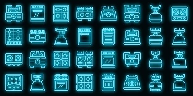 Płonąca kuchenka gazowa ikony ustaw wektor neon