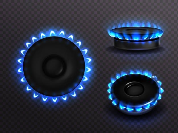 Płonąca kuchenka gazowa z niebieskim płomieniem i widokiem z boku. palnik kuchenny z podświetlanymi płytami, płomień propan-butan w piekarniku, świecąca płyta na przezroczystym tle, realistyczny zestaw 3d
