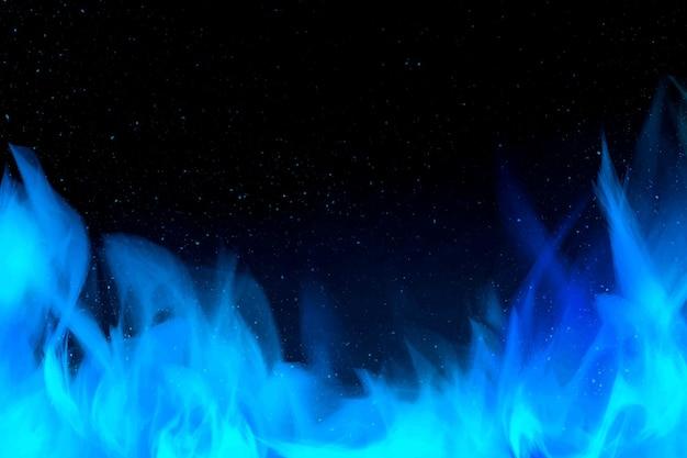 Płonąca niebieska granica płomienia ognia