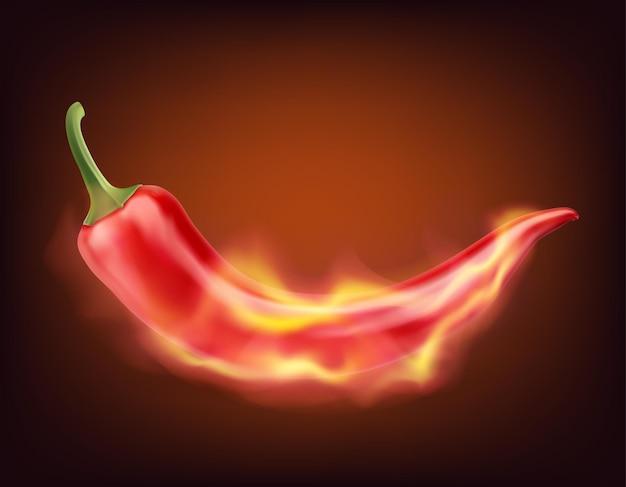 Płonąca papryczka chili na ciemnym tle realistyczna ilustracja wektorowa
