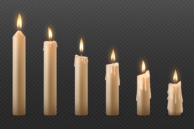 Płonąca realistyczna świeca woskowa 3d