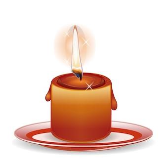 Płonąca świeca na talerzu. ilustracja na białym tle
