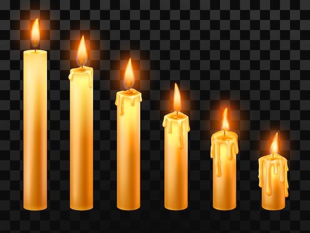 Płonąca świeca. palić świece kościelne, ogień woskowy i świeca na białym tle realistyczne przedmioty ustawione