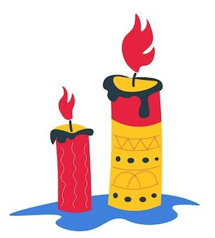 Płonąca świeca z rzeźbionym woskiem, geometrycznymi ornamentami i dekoracją. tradycyjne meksykańskie święta i uroczystości, 5 cinco de mayo lub dzień zmarłych. dia de los muertos, wektor w stylu płaskiej