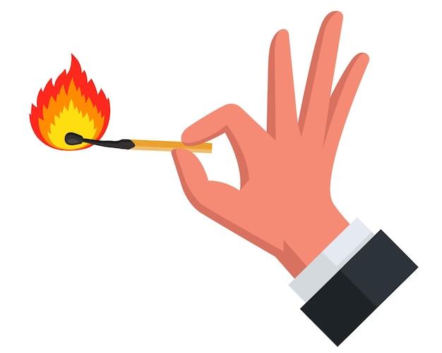 Płonąca zapałka na białym tle. płaska ilustracja wektorowa