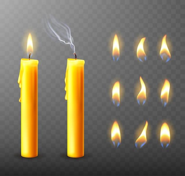 Płonąca, zgaszona świeca, ociekający woskiem