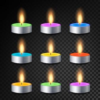 Płonące 3d realistyczne obiadowe świeczki wektor