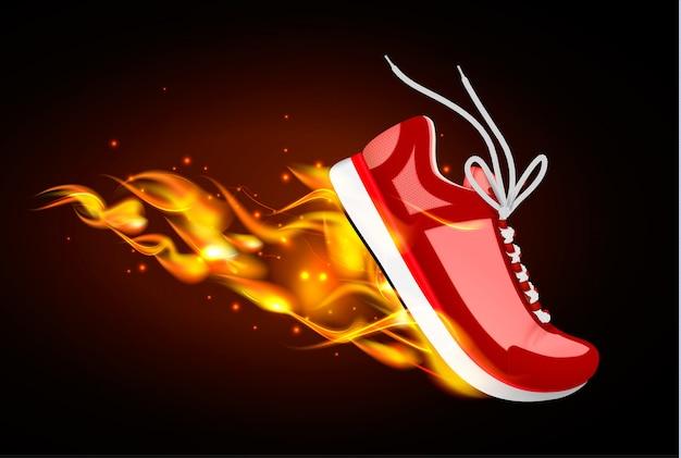 Płonące buty sportowe realistyczna ilustracja czerwonej tenisówki w dynamice z ogniem spod podeszwy