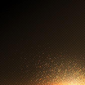 Płonące cząsteczki ognia, węgiel iskry streszczenie wektor efekt na białym tle. cząsteczki światła przeciwpożarowego, jasne płonące ilustracji płonących