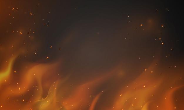 Płonące czerwone gorące iskry realistyczne płomienie ognia abstrakcyjne tło