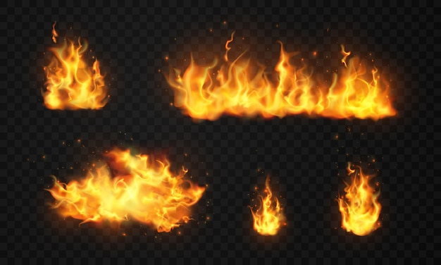 Płonące czerwone gorące iskry realistyczne płomienie ognia