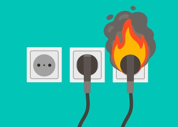 Płonące gniazdo. urządzenie przeciwpożarowe. ilustracja wektorowa w stylu kreskówki