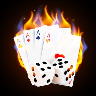 Płonące karty i kości do pokera w kasynie. kasyno online i ognisty hazard