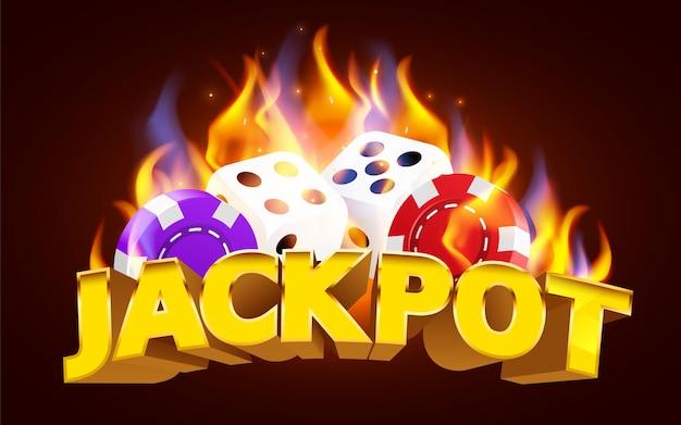 Płonące kości do gry w kasynie. gorąca gra w kasynie fire.