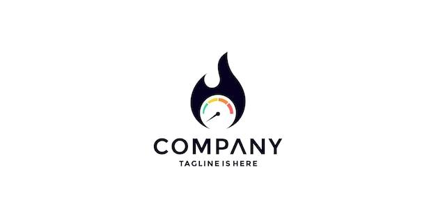 Płonące logo prędkościomierza wektor ikona ilustracja
